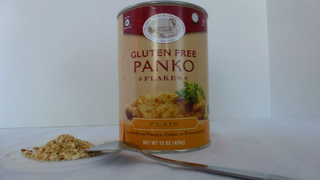 A container of gluten free Panko Breadcrumbs