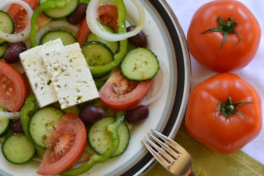 A plate of the classic Greek Summer Salad combo