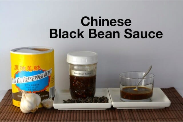 Chinese Black Bean Sauce with the original container of preserved black beans.