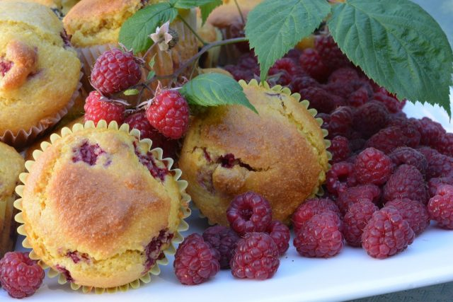 A tray of fresh Cornmeal Raspberry Muffins right out of the oven.