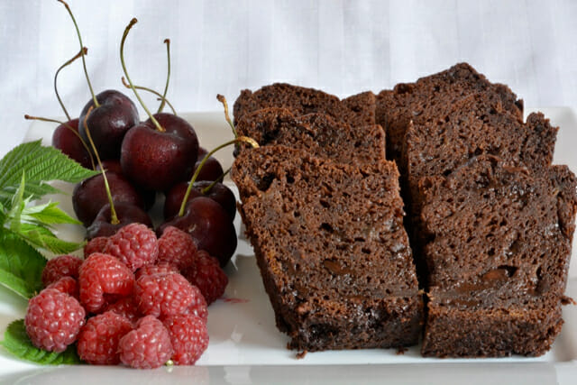 Double Chocolate Banana Bread made with chickpea flour.