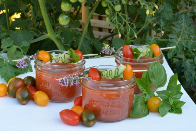 Mason jars filled with my Farm to Table Gazpacho for our Gourmet Dinner Club evening.