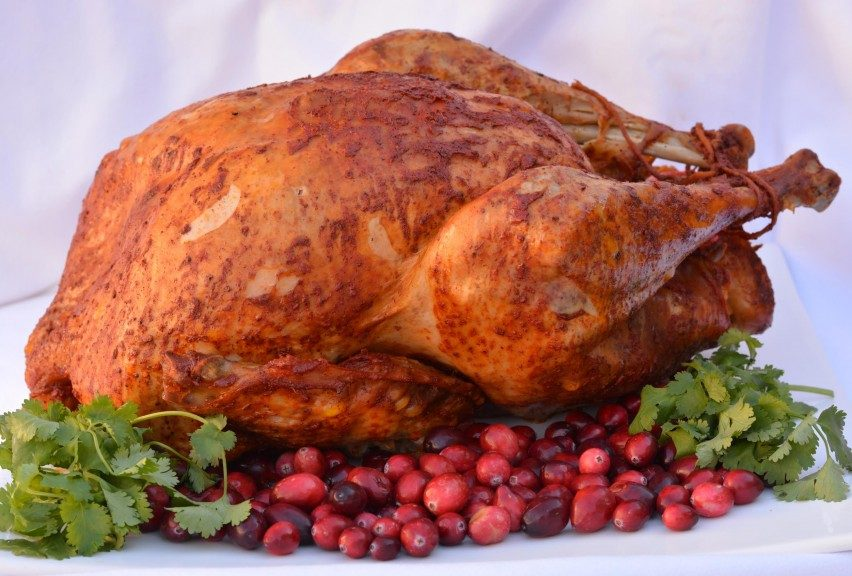 A Turkey Feast featuring Achiote Butter Basted Turkey