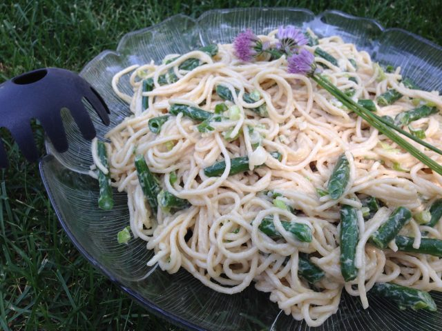 A bowl full of a gluten free Spicy Sesame Noodle Salad