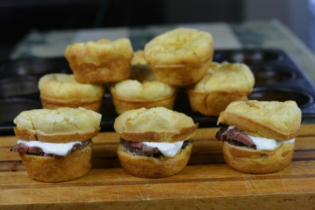 Gluten Free Yorkshire Pudding Roast Beef Sliders with horseradish cream sauce.
