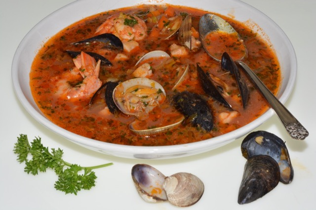A bowl of Italian Fish and Shellfish Soup