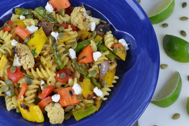 A bowl of Southwestern Grilled Vegetable Pasta