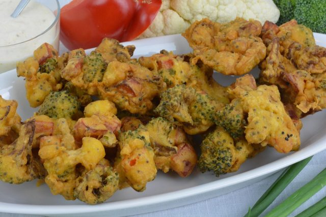 A tray of Vegetable Fritters, also known as pakora.