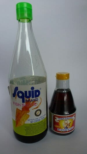 Two bottles of fish sauce
