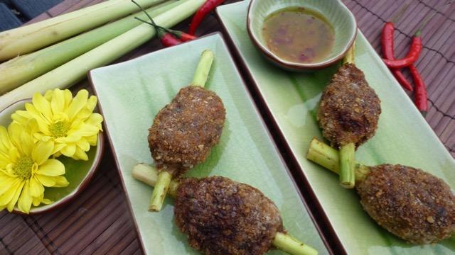 Pork and Shrimp on Lemongrass Skewers