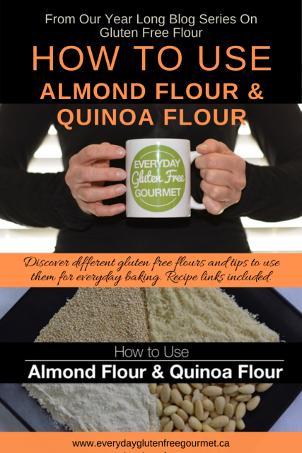 Photo of the Everyday Gluten Free Gourmet in black, holding coffee mug with logo, underneath is a black plate filled with almonds,  plate.