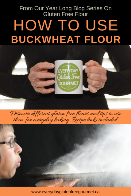 Photo of the Everyday Gluten Free Gourmet in black, holding coffee mug with logo, underneath is picture of her blowing buckwheat flour off of a plate.