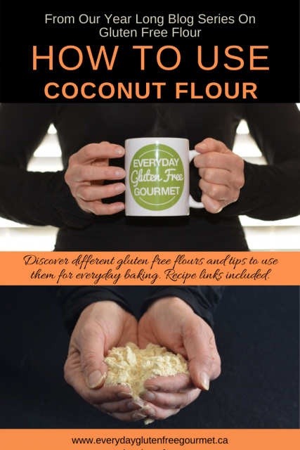 Photo of the Everyday Gluten Free Gourmet in black, holding coffee mug with logo, underneath is two hands holding coconut flour against a black background.